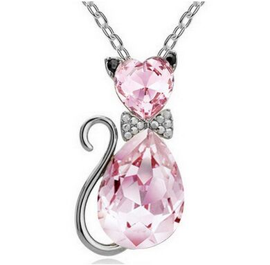 Crystal Bow-Tie Cat Necklace
