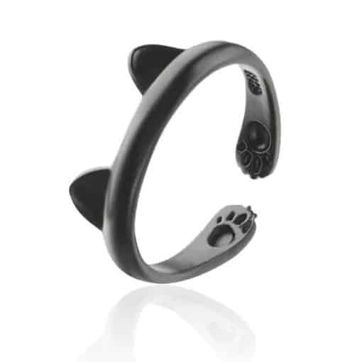 Black Cat Ears Paws Ring